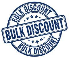 bulk discount blue grunge round vintage rubber stamp - stock illustration