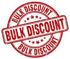bulk discount red grunge round vintage rubber stamp - stock illustration