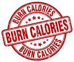 burn calories red grunge round vintage rubber stamp - stock illustration