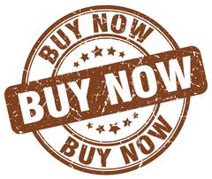 Buy now brown grunge round vintage rubber stamp Stock Illustration