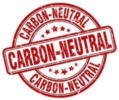 carbon-neutral red grunge round vintage rubber stamp - stock illustration