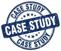case study blue grunge round vintage rubber stamp - stock illustration