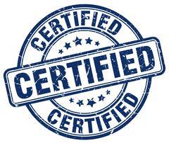 Certified blue grunge round vintage rubber stamp Stock Illustration