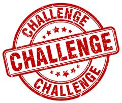 Challenge red grunge round vintage rubber stamp Stock Illustration