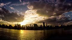 From sunset to night, panorama view of the manhattan skyline, New York, USA Arkistovideo