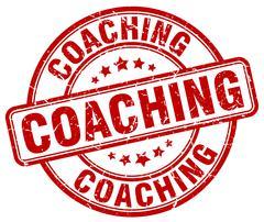 coaching red grunge round vintage rubber stamp - stock illustration