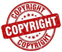 copyright red grunge round vintage rubber stamp - stock illustration