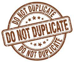 do not duplicate brown grunge round vintage rubber stamp - stock illustration
