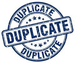 duplicate blue grunge round vintage rubber stamp - stock illustration
