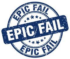 Epic fail blue grunge round vintage rubber stamp Stock Illustration