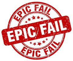 epic fail red grunge round vintage rubber stamp - stock illustration