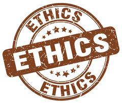 ethics brown grunge round vintage rubber stamp - stock illustration