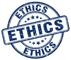 ethics blue grunge round vintage rubber stamp - stock illustration