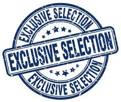 exclusive selection blue grunge round vintage rubber stamp - stock illustration