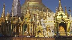 Shwedagon Paya pagoda, Yangon, Myanmar, tilt view Stock Footage