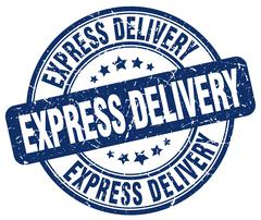 Express delivery blue grunge round vintage rubber stamp Stock Illustration