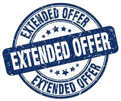 extended offer blue grunge round vintage rubber stamp - stock illustration