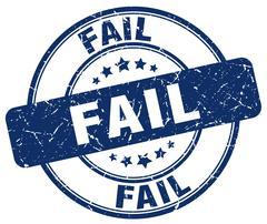 fail blue grunge round vintage rubber stamp - stock illustration