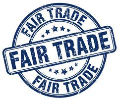 fair trade blue grunge round vintage rubber stamp - stock illustration