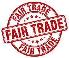 Fair trade red grunge round vintage rubber stamp Stock Illustration