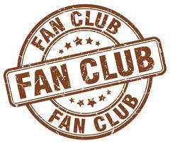 fan club brown grunge round vintage rubber stamp - stock illustration