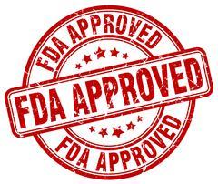 fda approved red grunge round vintage rubber stamp - stock illustration