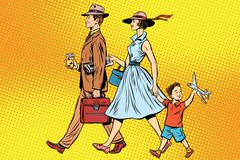 Family on a walk - stock illustration
