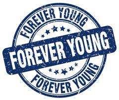 forever young blue grunge round vintage rubber stamp - stock illustration