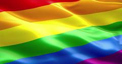 waving colorful of gay pride rainbow flag, civil right flag seamless looping  - stock photo