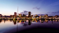4k-Inner Harbor at night, Baltimore Stock Footage