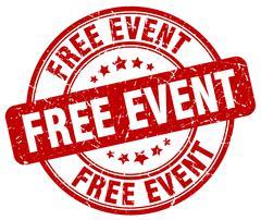 free event red grunge round vintage rubber stamp - stock illustration
