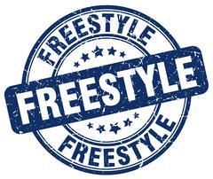 freestyle blue grunge round vintage rubber stamp - stock illustration