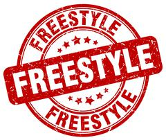 freestyle red grunge round vintage rubber stamp - stock illustration