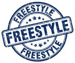 Freestyle blue grunge round vintage rubber stamp Stock Illustration
