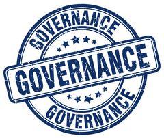 governance blue grunge round vintage rubber stamp - stock illustration
