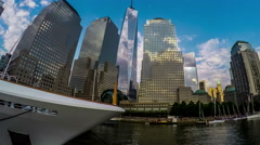 World Trade Center and buildings in New York City, New York, USA Stock Footage