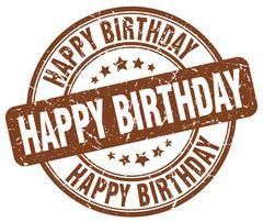 happy birthday brown grunge round vintage rubber stamp - stock illustration