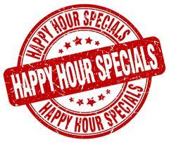 Happy hour specials red grunge round vintage rubber stamp Stock Illustration