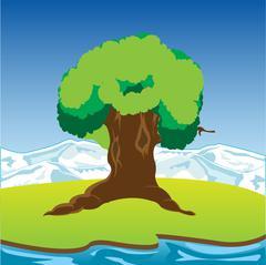 Big riverside tree - stock illustration