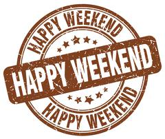 happy weekend brown grunge round vintage rubber stamp - stock illustration