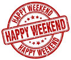 happy weekend red grunge round vintage rubber stamp - stock illustration
