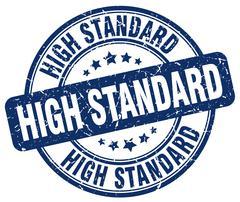 high standard blue grunge round vintage rubber stamp - stock illustration