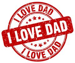 i love dad red grunge round vintage rubber stamp - stock illustration