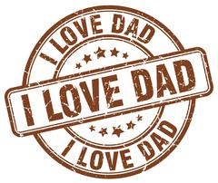 i love dad brown grunge round vintage rubber stamp - stock illustration