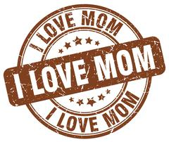 i love mom brown grunge round vintage rubber stamp - stock illustration