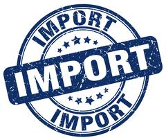 Import blue grunge round vintage rubber stamp Stock Illustration