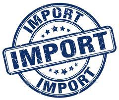 import blue grunge round vintage rubber stamp - stock illustration