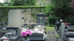 View Of A Peaceful Cemetery With Flowers Stock Footage