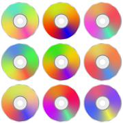 Colorful Realistic Compact  Disc Collection - stock illustration