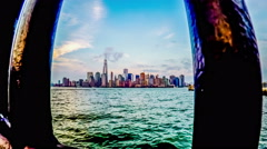 The wide angel view of the New York City skyline, New York, USA Stock Footage